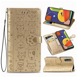 Embossing Dog Paw Kitten and Puppy Leather Wallet Case for Samsung Galaxy A50s - Champagne Gold