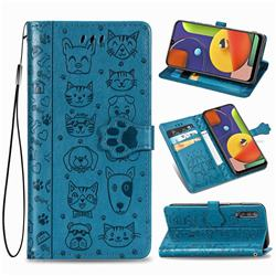 Embossing Dog Paw Kitten and Puppy Leather Wallet Case for Samsung Galaxy A50s - Blue