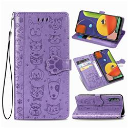 Embossing Dog Paw Kitten and Puppy Leather Wallet Case for Samsung Galaxy A50s - Purple