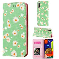 Ultra Slim Daisy Sparkle Glitter Powder Magnetic Leather Wallet Case for Samsung Galaxy A50s - Green
