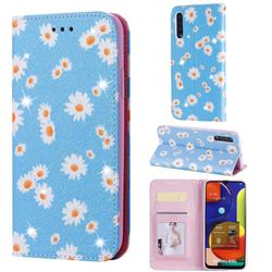 Ultra Slim Daisy Sparkle Glitter Powder Magnetic Leather Wallet Case for Samsung Galaxy A50s - Blue