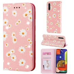 Ultra Slim Daisy Sparkle Glitter Powder Magnetic Leather Wallet Case for Samsung Galaxy A50s - Pink