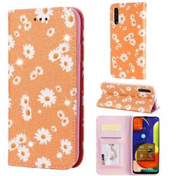 Ultra Slim Daisy Sparkle Glitter Powder Magnetic Leather Wallet Case for Samsung Galaxy A50s - Orange