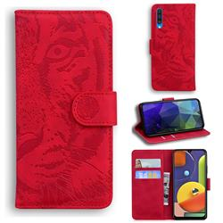 Intricate Embossing Tiger Face Leather Wallet Case for Samsung Galaxy A50s - Red