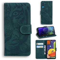 Intricate Embossing Tiger Face Leather Wallet Case for Samsung Galaxy A50s - Green