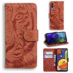 Intricate Embossing Tiger Face Leather Wallet Case for Samsung Galaxy A50s - Brown