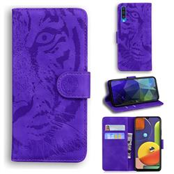 Intricate Embossing Tiger Face Leather Wallet Case for Samsung Galaxy A50s - Purple