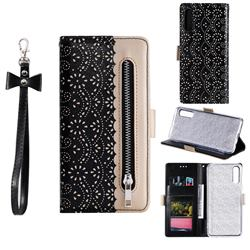 Luxury Lace Zipper Stitching Leather Phone Wallet Case for Samsung Galaxy A50s - Black