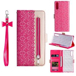 Luxury Lace Zipper Stitching Leather Phone Wallet Case for Samsung Galaxy A50s - Rose