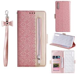 Luxury Lace Zipper Stitching Leather Phone Wallet Case for Samsung Galaxy A50s - Pink