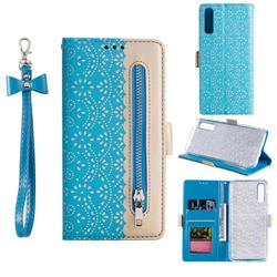 Luxury Lace Zipper Stitching Leather Phone Wallet Case for Samsung Galaxy A50s - Blue