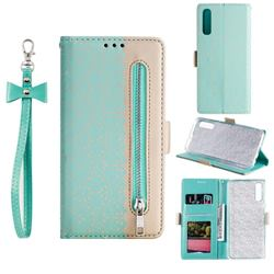 Luxury Lace Zipper Stitching Leather Phone Wallet Case for Samsung Galaxy A50s - Green