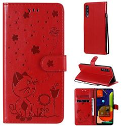 Embossing Bee and Cat Leather Wallet Case for Samsung Galaxy A50s - Red
