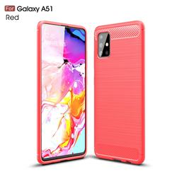 Luxury Carbon Fiber Brushed Wire Drawing Silicone TPU Back Cover for Samsung Galaxy A51 4G - Red