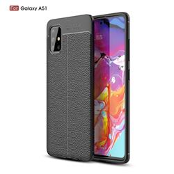 Luxury Auto Focus Litchi Texture Silicone TPU Back Cover for Samsung Galaxy A51 4G - Black