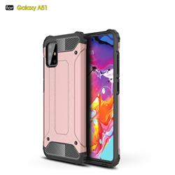 King Kong Armor Premium Shockproof Dual Layer Rugged Hard Cover for Samsung Galaxy A51 - Rose Gold