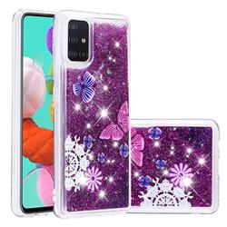 Purple Flower Butterfly Dynamic Liquid Glitter Quicksand Soft TPU Case for Samsung Galaxy A51