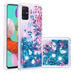 Blue Plum Blossom Dynamic Liquid Glitter Quicksand Soft TPU Case for Samsung Galaxy A51