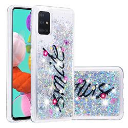 Smile Flower Dynamic Liquid Glitter Quicksand Soft TPU Case for Samsung Galaxy A51