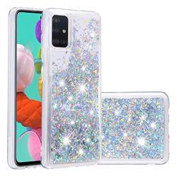 Dynamic Liquid Glitter Quicksand Sequins TPU Phone Case for Samsung Galaxy A51 - Silver