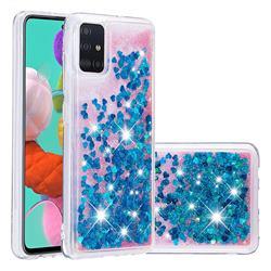 Dynamic Liquid Glitter Quicksand Sequins TPU Phone Case for Samsung Galaxy A51 - Blue