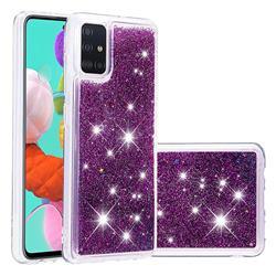 Dynamic Liquid Glitter Quicksand Sequins TPU Phone Case for Samsung Galaxy A51 - Purple