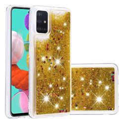 Dynamic Liquid Glitter Quicksand Sequins TPU Phone Case for Samsung Galaxy A51 - Golden