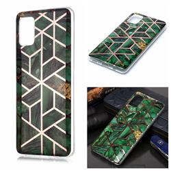 Green Rhombus Galvanized Rose Gold Marble Phone Back Cover for Samsung Galaxy A51 4G