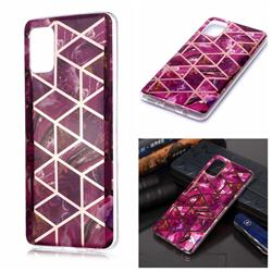 Purple Rhombus Galvanized Rose Gold Marble Phone Back Cover for Samsung Galaxy A51 4G