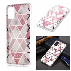 Pink Rhombus Galvanized Rose Gold Marble Phone Back Cover for Samsung Galaxy A51 4G