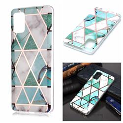 Green White Galvanized Rose Gold Marble Phone Back Cover for Samsung Galaxy A51 4G
