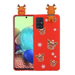 Elk Snowflakes Christmas Xmax Soft 3D Doll Silicone Case for Samsung Galaxy A51 4G