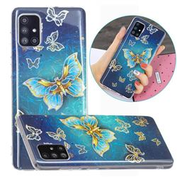 Golden Butterfly Painted Galvanized Electroplating Soft Phone Case Cover for Samsung Galaxy A51 4G