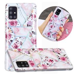 Rose Flower Painted Galvanized Electroplating Soft Phone Case Cover for Samsung Galaxy A51 4G