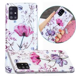 Magnolia Painted Galvanized Electroplating Soft Phone Case Cover for Samsung Galaxy A51 4G