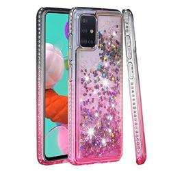 Diamond Frame Liquid Glitter Quicksand Sequins Phone Case for Samsung Galaxy A51 4G - Gray Pink