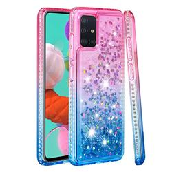 Diamond Frame Liquid Glitter Quicksand Sequins Phone Case for Samsung Galaxy A51 4G - Pink Blue