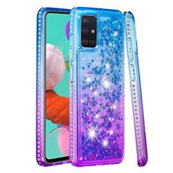 Diamond Frame Liquid Glitter Quicksand Sequins Phone Case for Samsung Galaxy A51 4G - Blue Purple