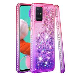 Diamond Frame Liquid Glitter Quicksand Sequins Phone Case for Samsung Galaxy A51 4G - Pink Purple