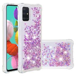 Dynamic Liquid Glitter Sand Quicksand Star TPU Case for Samsung Galaxy A51 4G - Rose