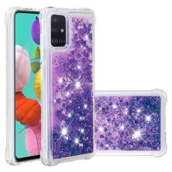 Dynamic Liquid Glitter Sand Quicksand Star TPU Case for Samsung Galaxy A51 4G - Purple