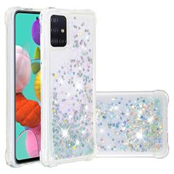 Dynamic Liquid Glitter Sand Quicksand Star TPU Case for Samsung Galaxy A51 4G - Silver