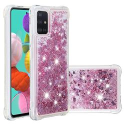 Dynamic Liquid Glitter Sand Quicksand Star TPU Case for Samsung Galaxy A51 4G - Diamond Rose