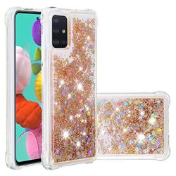 Dynamic Liquid Glitter Sand Quicksand Star TPU Case for Samsung Galaxy A51 4G - Diamond Gold