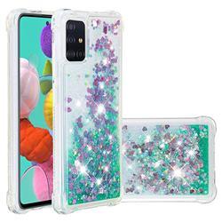Dynamic Liquid Glitter Sand Quicksand TPU Case for Samsung Galaxy A51 4G - Green Love Heart