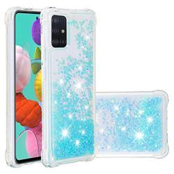 Dynamic Liquid Glitter Sand Quicksand TPU Case for Samsung Galaxy A51 4G - Silver Blue Star