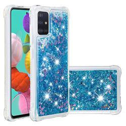 Dynamic Liquid Glitter Sand Quicksand TPU Case for Samsung Galaxy A51 4G - Blue Love Heart