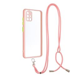 Necklace Cross-body Lanyard Strap Cord Phone Case Cover for Samsung Galaxy A51 4G - Pink