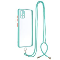 Necklace Cross-body Lanyard Strap Cord Phone Case Cover for Samsung Galaxy A51 4G - Blue