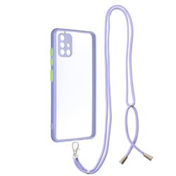 Necklace Cross-body Lanyard Strap Cord Phone Case Cover for Samsung Galaxy A51 4G - Purple